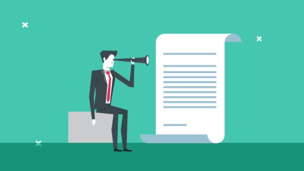 elegant businessman worker with telescope and document