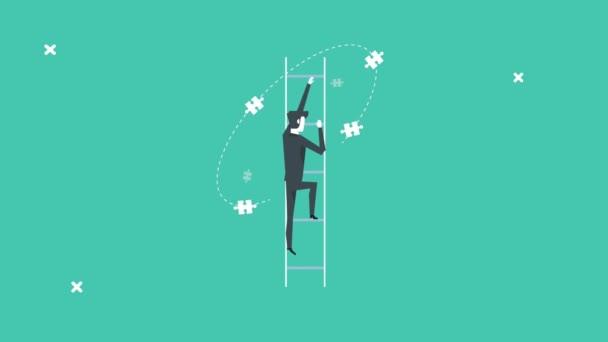 elegantní podnikatel jde nahoru po schodech