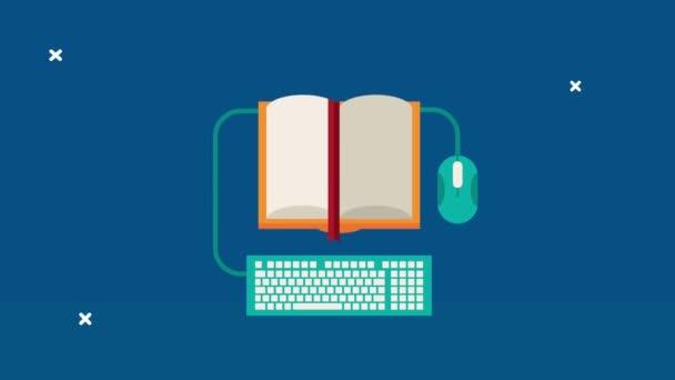 tankönyv kínálat egérrel és billentyűzet tanulás animáció
