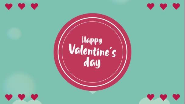 boldog Valentin napi betű kártya kör alakú keret és a szív