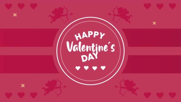 boldog Valentin napi betű kártya kör alakú keretben