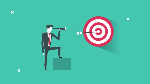 elegant businessman with telescope and target