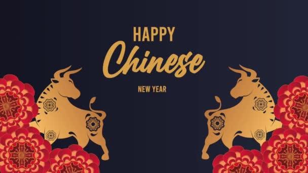 šťastný čínský nový rok nápis se zlatými voly a květinami
