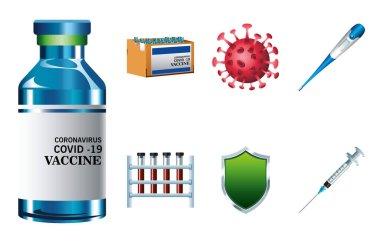 Bundle of seven covid19 virus vaccine set icons vector illustration design icon
