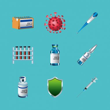 Bundle of nine covid19 virus vaccine set icons vector illustration design icon