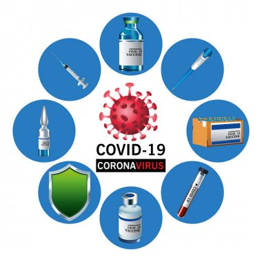 Covid19 virus vaccine lettering with set icons around vector illustration design icon