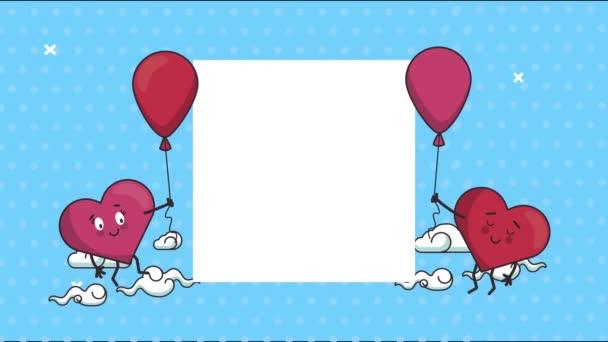 boldog Valentin napi kártya szívvel pár és lufi hélium