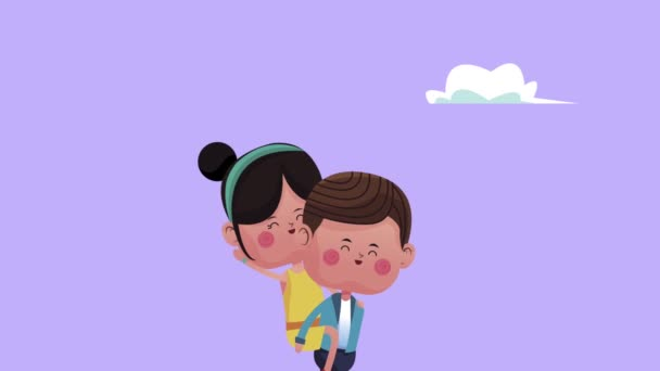 roztomilý malý milenci pár s chlapcem zvedání dívky znaky
