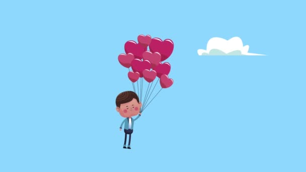 roztomilý milenec chlapec se srdcem balónky helium