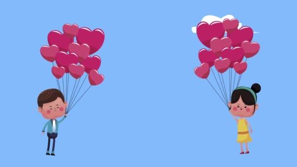 roztomilý milenci pár plovoucí s balónky helium znaky