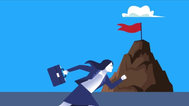 elegant businesswoman worker running with success flag in mountain character