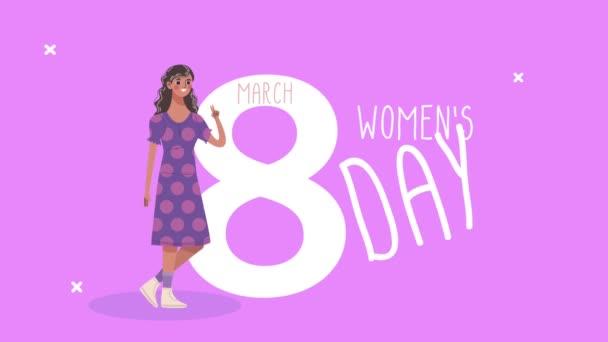 Glückliche Briefkarte zum Frauentag mit netten Mädchen