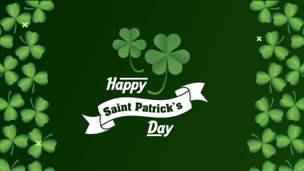 happy saint patricks day lettering in ribbon with clovers frame