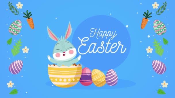 Frohe Ostern Schriftzug mit Hase im Ei bemalt