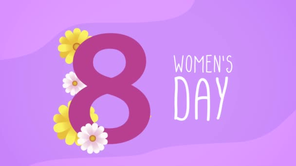 happy womens day lettering card with number eight floral decoration