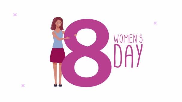 šťastný ženy den psaní karty s ženou a číslo osm