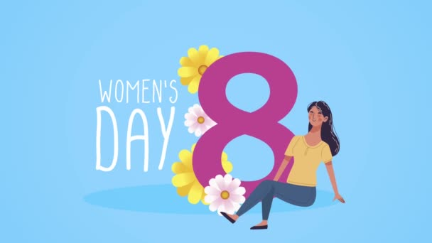 happy womens day lettering card with flowers in eight number and woman