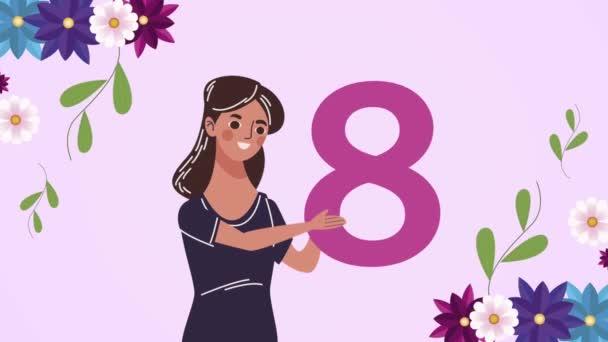 Glückliche Frauentagskarte mit Frauennummer acht