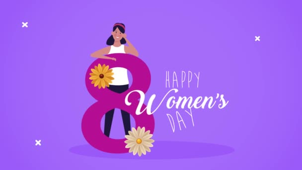 happy womens day lettering card with girl and floral number eight