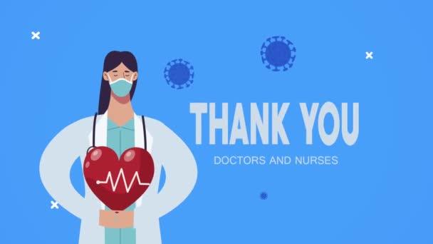 Danke Ärzte und Krankenschwestern Schriftzug mit Ärztin und Herz-Kreislauf