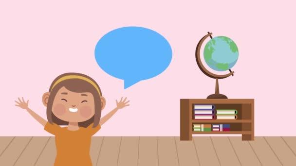 aranyos diák kislány beszéd buborék