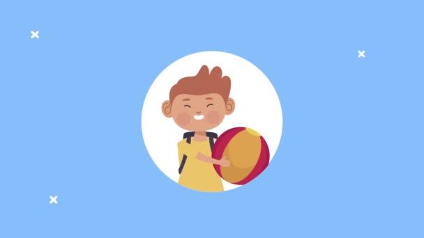 aranyos tanuló kisfiú léggömb karakter