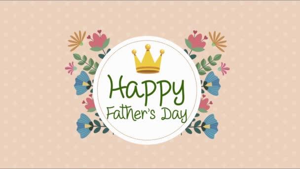 Glückliche Vatertagsbriefkarte mit Krone im Blumenrahmen