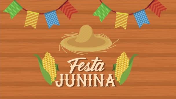 festa junina písmo animace se slaměným kloboukem a kukuřice
