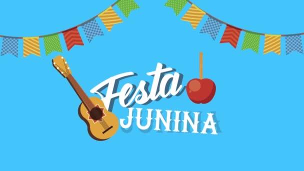 festa junina písmo animace s věnci a kytara