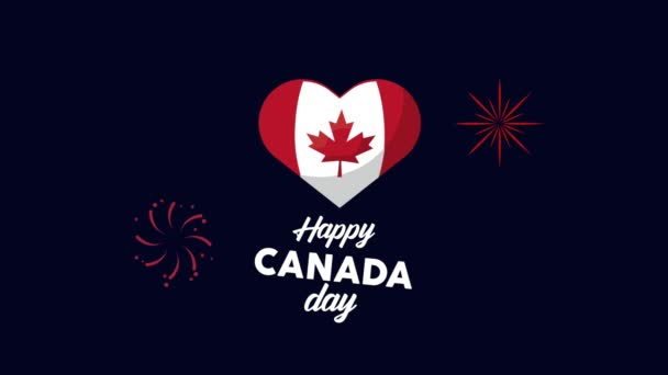 happy canada day lettering with flag in heart