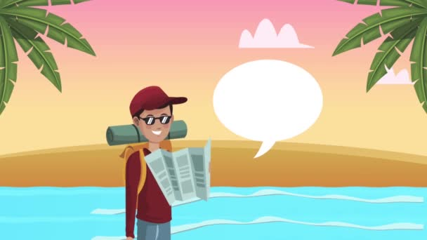 mužský turista s papírovou mapou na pláži