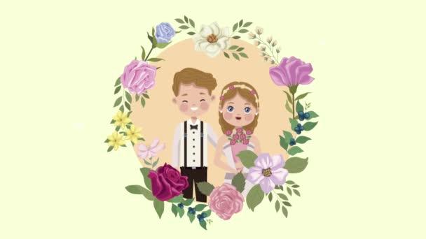 Liebhaber von Hochzeitspaaren im kreisförmigen Blumengestell