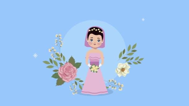 Hochzeit schöne Frau im floralen Rahmen