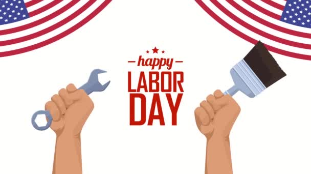 usa labor day lettering with hands lifting tools