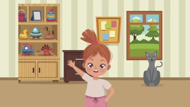 little girl practicing exercise with cat animation