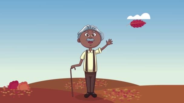 Netter Großvater in herbstlicher Szene-Animation