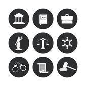 Právo a spravedlnost ikony designu