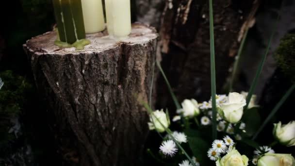 Schone Hochzeit Dekoration Mit Kerzen Birke Protokolle Stockvideo