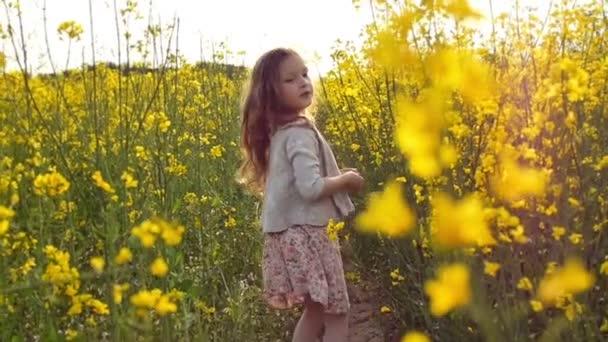 dívka, běh přes pole při západu slunce. Zpomalený pohyb