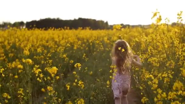 girl running cross the field at sunset.Slow motion