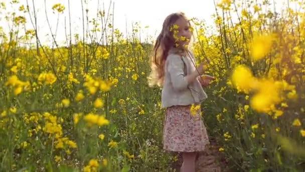 malá holčička, trhání květin a hraje si s nimi