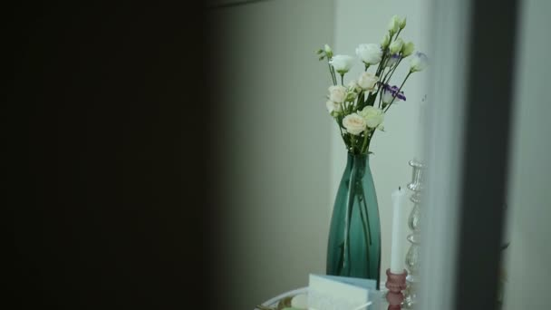 Vintage decorative composition flowers and candles