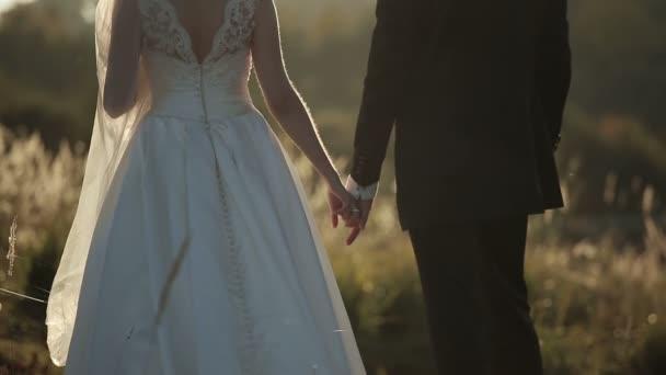 d2b50f320f Joven novia y el novio al atardecer cogidos de la mano– metraje de stock