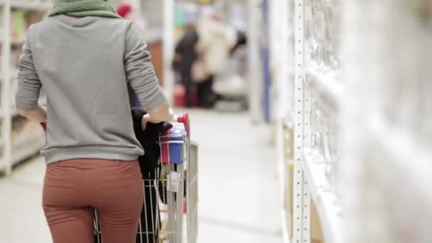 Girl walking through store with a market cart