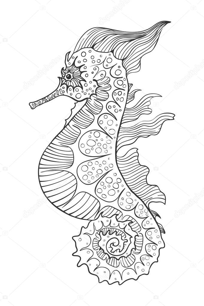Konik Morski Czarno Białe Grafika Wektorowa Arsenika