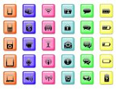 Soubor ikony aplikace a komunikační tlačítka pozadí