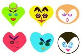 Abstract heart shaped faces with different expression background
