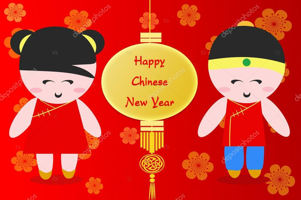Happy Chinese New Year Gruß Cartoon-Hintergrund — Stockfoto ...