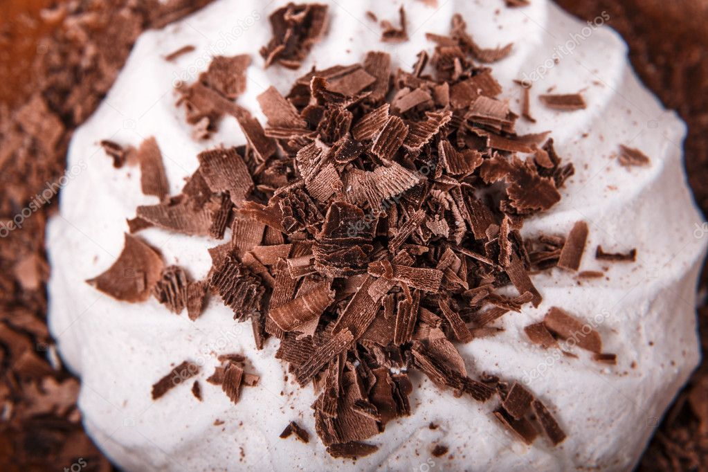 Pieces of chocolate on zephyr gale with chips closeup macro
