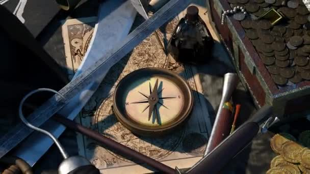 still life on the theme of travel history and rest about pirates, the map compass on the table, 3D render